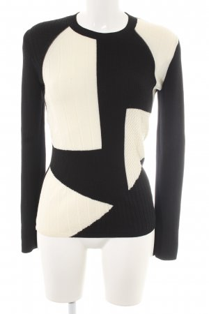 & other stories Wollpullover schwarz-wollweiß Mustermix Casual-Look