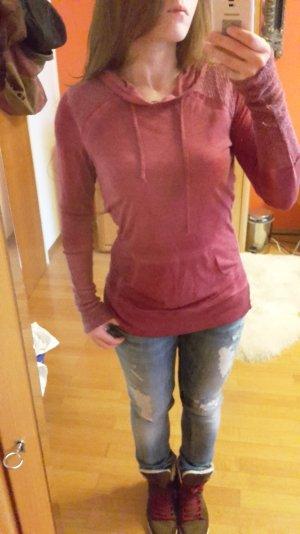 Others Follow Damen Longsleeve pink Materialmix Gr. S 36 Longtop