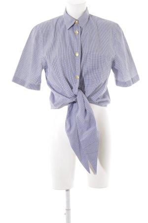 Otto Kern Camisa de manga corta blanco-azul oscuro estampado a cuadros