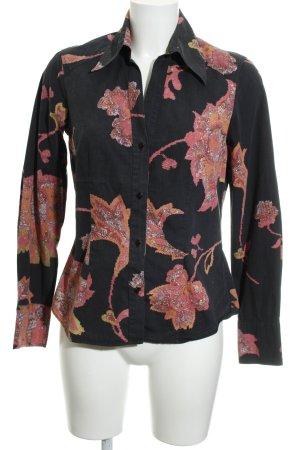 Otto Kern Langarm-Bluse florales Muster 80ies-Stil