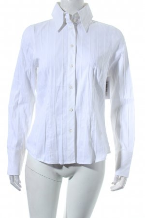 Otto Kern Langarm-Bluse weiß-silberfarben Nadelstreifen Business-Look