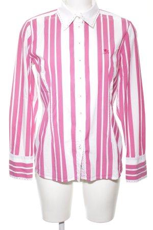 Otto Kern Langarmhemd pink-weiß Streifenmuster Casual-Look