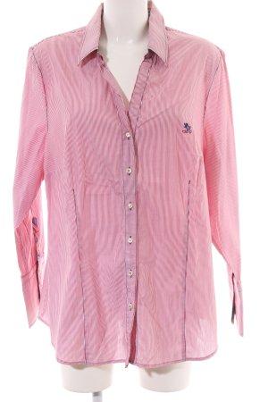 Otto Kern Langarmhemd pink-weiß Schriftzug gestickt Casual-Look