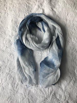 Otto Kern Leinen Batik Schal blau weiß