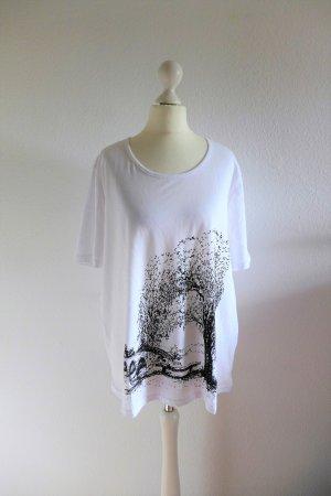 Otto Shirt T-Shirt Kurzarm Print Baum Brücke weiß schwarz Gr. 46 wie neu