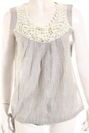 Oui ärmellose Bluse grau-weiß Streifenmuster Romantik-Look
