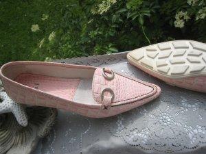 Oui ´´Bezaubernde Luxus Leder Bootschuhe Blass Hell Pastell Rosé & Creme  NP 120 € Neu
