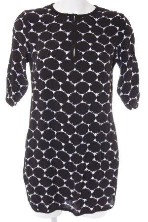 Oui Blusenkleid schwarz-weiß abstraktes Muster Casual-Look