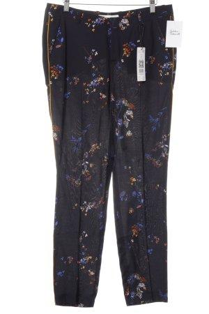 Oui Bundfaltenhose dunkelblau florales Muster Elegant