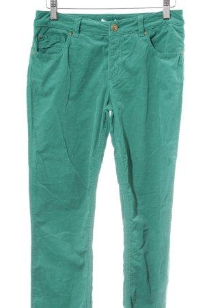 Oui Pantalone di velluto a coste verde stile casual