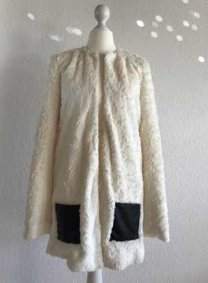 Oui Fake Fur Mantel mit Häckchenverschluss