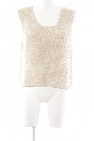 Oui Cardigan en maille fine crème-brun sable motif tricoté lâche