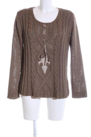 Oui Grobstrickpullover bronzefarben-wollweiß Zopfmuster Casual-Look