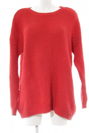 Oui Grobstrickpullover rot Casual-Look
