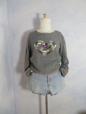 Oui Hellgrau Embroidery i mog di Oktoberfest Bestickt Weicher Grobstrick Pullover Wolle Oversize S M 36 38 Blogger
