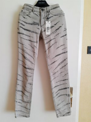 Oui Low Rise Jeans silver-colored-grey cotton