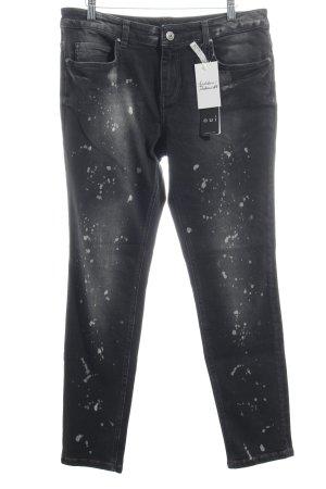 Oui Jeans schwarz-wollweiß Used-Optik