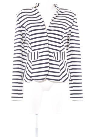 Oui Blazer in jersey bianco sporco-blu scuro motivo a righe stile casual