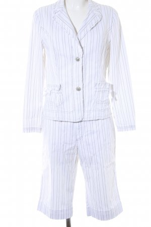 Oui Ladies' Suit white-sage green striped pattern glittery