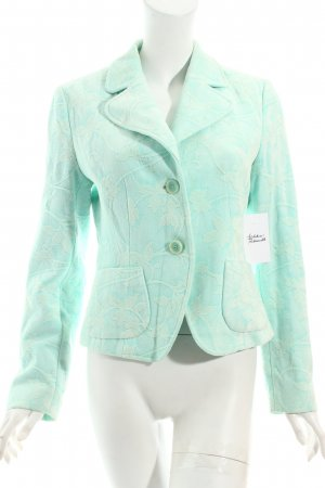 Oui Kurz-Blazer blassgrün-wollweiß abstraktes Muster extravaganter Stil