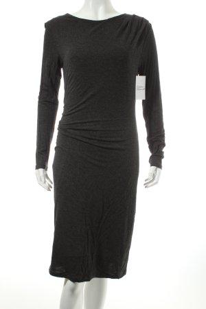 Oui Kurzarmkleid dunkelgrau meliert minimalistischer Stil