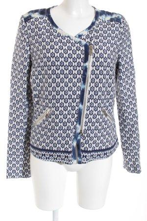 Oui Kurzjacke weiß-blau grafisches Muster Casual-Look