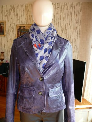 Oui Leather Blazer brown violet leather