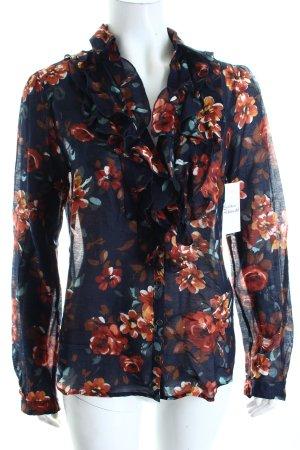Oui Langarm-Bluse dunkelblau-rostrot Blumenmuster Romantik-Look