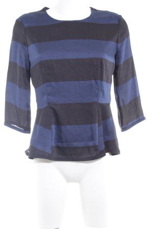 Oui Langarm-Bluse dunkelblau-schwarz Streifenmuster Casual-Look