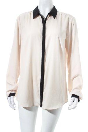 Oui Langarm-Bluse hellbeige-schwarz klassischer Stil