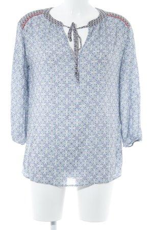 Oui Langarm-Bluse hellgrau-blau abstraktes Muster schlichter Stil