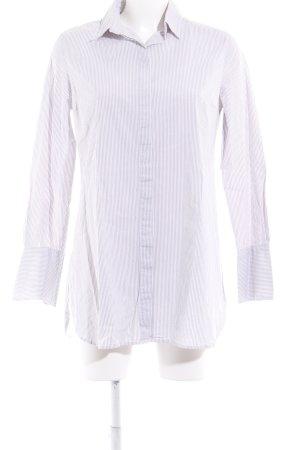 Oui Chemise à manches longues blanc-gris clair motif rayé style d'affaires