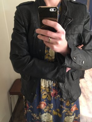 Oui Lederjacke tailliert rockig Blazerschnitt schwarz Gr. 36 neu