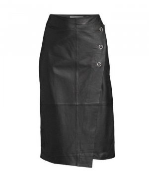 Oui Leather Skirt black leather