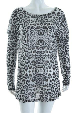 Oui Top à manches longues gris clair-noir motif léopard imprimé animal