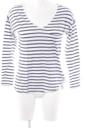 Oui Longsleeve weiß-stahlblau Streifenmuster Casual-Look