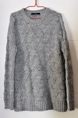 Oui luxery edition Pullover mit Zopfmuster silber Gr 42