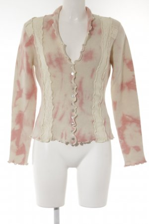 oui Moments Cardigan wollweiß-rosa abstraktes Muster Elegant