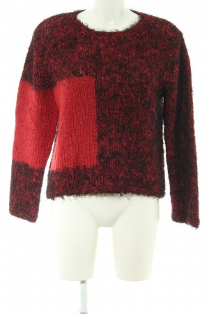 oui Moments Grobstrickpullover schwarz-rot meliert Casual-Look