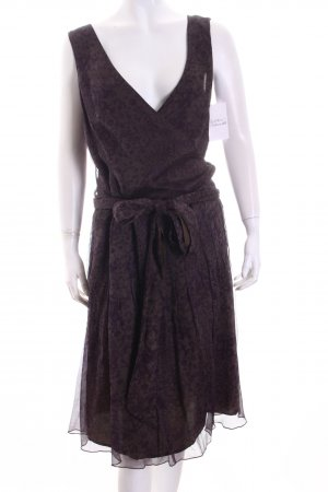 oui Moments Kleid braunviolett-graubraun florales Muster Elegant