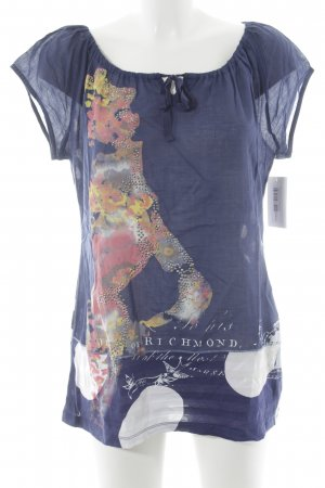 oui Moments Kurzarm-Bluse Blumenmuster Casual-Look