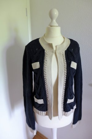 Oui moments Strickjacke Jacky O Strick blau weiß Gr. 34 wie neu