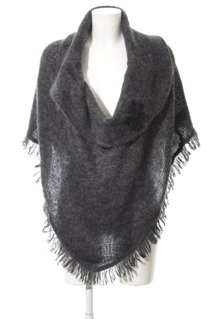 oui Moments Gebreide poncho donkergrijs casual uitstraling