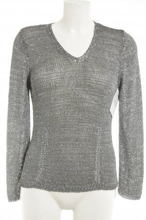 oui Moments Strickpullover grau Lochstrickmuster Casual-Look