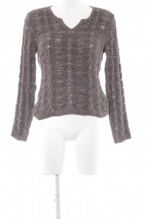 oui Moments Strickpullover grau Lochstrickmuster Materialmix-Look