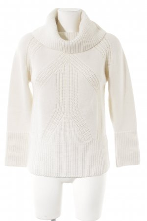 oui Moments Wollpullover wollweiß Webmuster Casual-Look