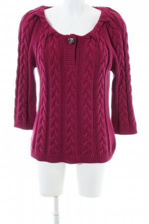 oui Moments Zopfpullover rot Zopfmuster Casual-Look