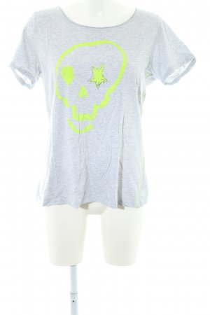 Oui Print-Shirt hellgrau-neongelb Casual-Look