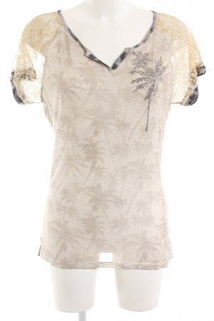 Oui Print-Shirt wollweiß-hellgrau Motivdruck Business-Look