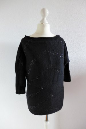Oui Pulli Pullover schwarz Pailletten Gr. XS 34